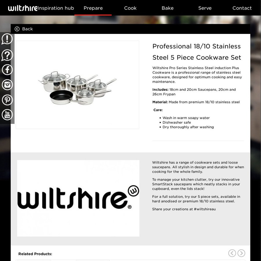 Wiltshire Pro Series 18 10 Stainless Steel 5 Piece