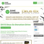 Free PC Steam Copy of Deus Ex: Human Revolution When Donating $1 USD or More at Game Changer