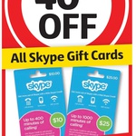40% off All Skype Gift Cards at Coles and Bi-Lo Supermarkets until 7/7/15