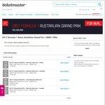 2017 F1 Grand Prix Melbourne - $20 off Admission via Ticketmaster