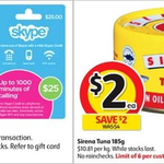 ½ Price All Skype Gift Cards, ½ Price Sirena Tuna 185g $2 @ Coles (Starts April 5)