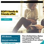 Optus EOFY Family and Friends Offer: 25% Discount On 24 Month Plans (New Services Only)