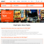 Jetstar Japan Return for Free Sale: Tokyo from Melbourne $447, Cairns $289, Sydney $454, Adelaide $480, Brisbane $419, GC $319