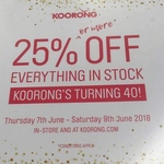 Koorong 25% off Everything in Stock In-store and Online 7-9 June