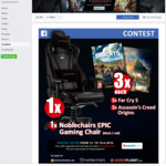 Win a noblechairs EPIC Black/Red Gaming Chair or 1 of 6 Far Cry 5/Assassin's Creed:Origins PC Game Codes from Gamesplanet