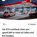 CommBank Rewards $10 Cashback with $40 Spend @ Caltex Service Stations