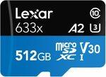 Lexar Micro SDXC 633x 512GB UHS-I Card $107.64 + Delivery (free with Prime) @ Amazon US via AU