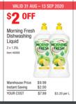 Morning Fresh Super Concentrate Lemon Dishwashing Liquid, 2500ml (1.25 Litres X 2) $7.99 @ Costco (Membership Required)