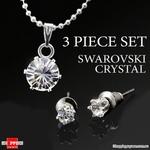 3pcs Swarovski Elements Crystal Sterling Silver Set From $9.95 Delivered @ Shopping Square