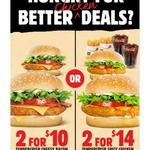 2 Tendercrisp Cheesy Bacon Burgers $10 | 2 Tendercrisp Spicy Chicken Small Meals $14 Pickup @ Hungry Jack's via App