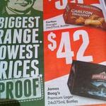 Carlton Draught 24x375ml Bottles $35, James Boag's Premium Lager 24x375ml $42 @ Dan Murphy's