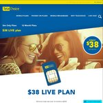 Telechoice Live $38 Plan 12 Mon Contract - 7 GB Data, Unlmtd Calls, 200min International Calls