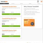 TravelSim: 10% Bonus on $100 and $200 Recharges; $30 for a Double Pack with Free Sms between Sims