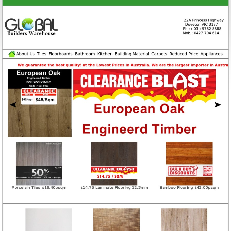 12 90psqm Porcelain Tiles And Laminate Clearance Global Builders Warehouse Vic Ozbargain
