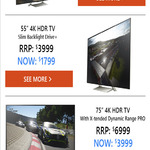 "SONY 4K UHD TV 43""- $999, 55"" X9300E - $1799 @ Sony Online Store via EB Games Targeted Offer"