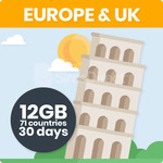 25% off - Europe/UK Travel SIM Card w/ 12GB Data for 71 Countries - 3000 Talk/Text - $41.25 + Free Shipping @ SimsDirect Sydney
