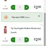Tip Top English Muffins $2.50 (50% off) + 500 Bonus Reward Points (Worth $2.50) @ Woolworths Online