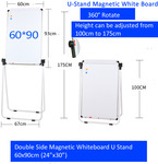 Double Sided Magnetic Whiteboard (60*90cm) White U Stand with 4 Pens $70.20 + $9.99 Delivery @ Artoys