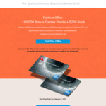 Partner Offer: 100,000 Qantas Points + $200 Back with The Qantas AmEx Ultimate Card ($450 Annual Fee)