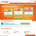 $4.98 off Any Order @ Amaysim. $5 SIM Card for $0.02, 1GB Data Pack for $4.92 etc + $10 Credit