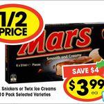 1/2 Price 6pk Mars, Snickers, Twix Ice Creams $3.99 @ IGA Stores Nationally