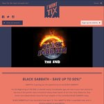 Black Sabbath up to 50% off Tickets from $79.90 + Booking Fee via I Want Tix