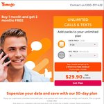 Pay 1st Month and Get 2 Months Free, Plans Starting $19.90 (Equates $6.63 for 1GB, $9.97 for 5GB, $14.97 for 10GB/Pm) @ Yomojo