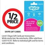 Skype Gift Cards ½ Price @ Coles