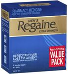 Regaine Solution Mens Extra Strength 4 for 3 $69.39 & Regaine Men's Foam 3 Months 3x 60g $67.99 (Half Price) @ Chemist Warehouse