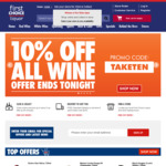 Free Delivery Sitewide ($50 Minimum Spend) + 10% off All Wine Online @ First Choice Liquor - Today Only