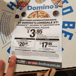 [VIC] Customer Appreciation Day - Value/Traditional Pizzas From $3.95 (Pick up) @ Domino's Pizza, Lonsdale Street