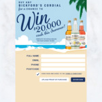 Win $20,000 Cash from Bickford's Australia [Purchase 750ml Bickford's Cordial]