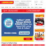 Collect 1000 Bonus Flybuys Points When You Spend $20 Using Click and Collect @ Liquorland