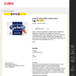 Sorbent Hypo-Allergenic or Silky White Toilet Tissue 12 Pack 1/2 Price $4.70 @ Coles