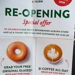 [NSW] $1 Regular Coffee (Hot or Iced) and Free Original Glazed with Any Purchase @ Krispy Kreme Auburn