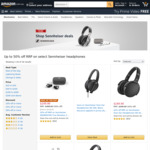 Up to 50% off RRP on Select Sennheiser Headphones Delivered @ Amazon AU