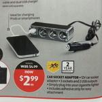 Car 3 Socket, 2 USB Adaptor Was $4.99 Now $2.99 @Aldi Starts 24th Sept
