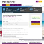 Cashback Increased to $30 on $120 Spend Woolworths Online, for New Customers @ Cashrewards