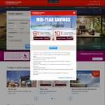 Hotels.com Mid-Year Savings - 8% off Bookings within Asia Pacific, 10% off outside