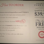 Charles Tyrwhitt - Free Polo for Velocity Members with Any Shirt. Shirts $39.95 and 4 Velocity Points Per $1