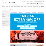 Take 40% off Already Reduced Prices Fashion at David Jones. End on Sunday