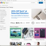eBay Xmas Tech Frenzy: 20% off 40 Participating Stores (Bing Lee, Futu Online, PC Byte, SS, Dell + More)