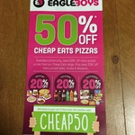 50% off Eagle Boys Cheap Eats Pizza & 20% off Sides, Drinks, Desserts
