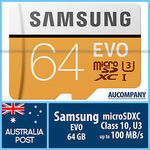 Samsung EVO 64GB Micro SD Card U3 $32.73 Delivered @ AU Company eBay