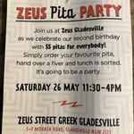 [NSW] $5 Pita at Zeus Gladesville's Second Birthday Party (Usual Price $10.50 to $13.50)