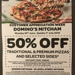 [VIC] 50% off Traditional Pizzas, Premium Pizzas and Selected Sides @ Domino's (Mitcham & Lysterfield)