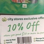 [NSW] 10% off for Spending $10 or More @ Woolworths (Sydney City Stores Excluding Town Hall)