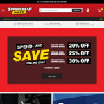 20%/25%/30% off $100-$149.99/ $150-$199.99/ $200 or More Spend @ SuperCheap Auto Online Only