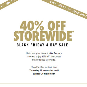 tablero Sentimental polilla  VIC, NSW, ACT, QLD] 40% off Storewide @ Nike Factory Outlet - OzBargain