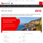 Hire a Car with Avis through Qantas.com, Earn 6 Points Per $1 Spent. Offer Ends June 30